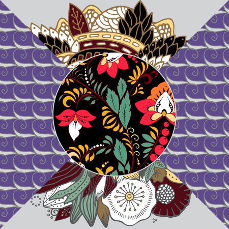Abstract patchwork tile with floral ornaments vector illustration