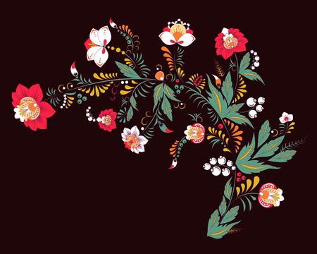 stock vector abstrakte Hand zeichnen Blume und Welle, Gekritzelstrauß. orientalischer oder arabischer, russischer Kunsthintergrund. Vorlage für Karte. Banner