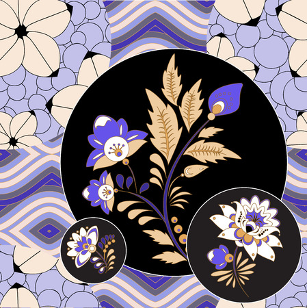 abstract seamless patchwork tile with floral ornament.arabic or orient pattern. vintage style Foto de archivo - 114992760
