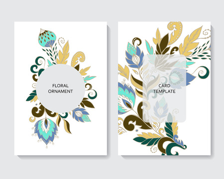 stock vector vertical botanic card template. design with flowers and leaves. Foto de archivo - 114992765