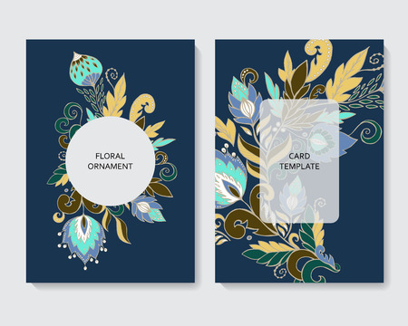 stock vector vertical botanic card template. design with flowers and leaves. Foto de archivo - 114992766