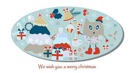 christmas card with tree and snowflakes Foto de archivo - 110438856