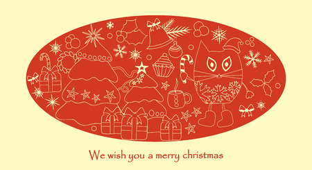 christmas card with tree and snowflakes Foto de archivo - 110438857