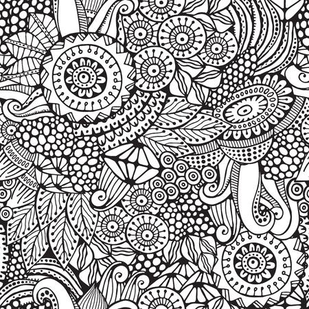 stock vector seamless flower, doodle pattern. abstract art background Foto de archivo - 110438860