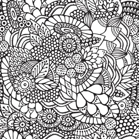 stock vector seamless flower, doodle pattern. abstract art background Foto de archivo - 110438861