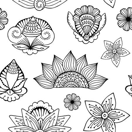 stock vector seamless flower, doodle pattern. abstract art background Foto de archivo - 110438866