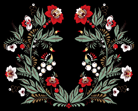 stock vector flowers and leaf ornament. oriental or russian pattern.necklace embroidery design Foto de archivo - 110438873
