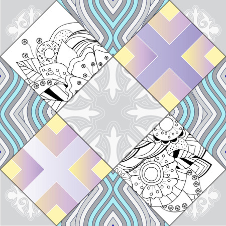 abstract seamless patchwork tile with floral ornament.arabic or orient pattern. vintage style Foto de archivo - 127386036