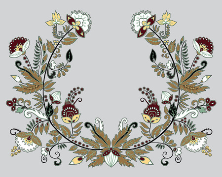 stock vector flowers and leaf ornament. oriental or russian pattern.necklace embroidery design Foto de archivo - 127386041