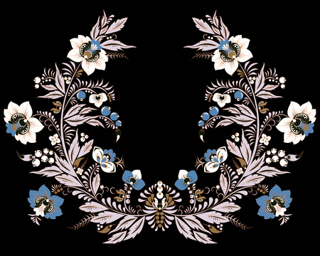 stock vector flowers and leaf ornament. oriental or russian pattern.necklace embroidery design Foto de archivo - 127386047