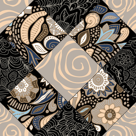 abstract seamless patchwork tile with floral ornament.arabic or orient pattern. vintage style Foto de archivo - 127386053