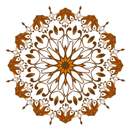 Ornamental round abstract lace pattern. Circular design elements Vector