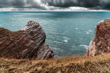 Mountain cliff formation at the coast of Helgoland in the German north sea.Viewed from a grass edge. Strong wind going by with heavy clouds. Perfect travel destination with cooler weather.