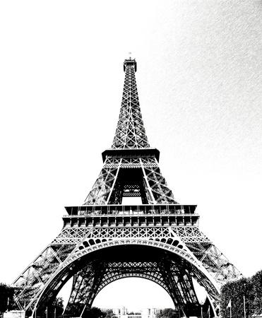 historic building: Eiffel Tower in Paris, drawn in pencil pc
