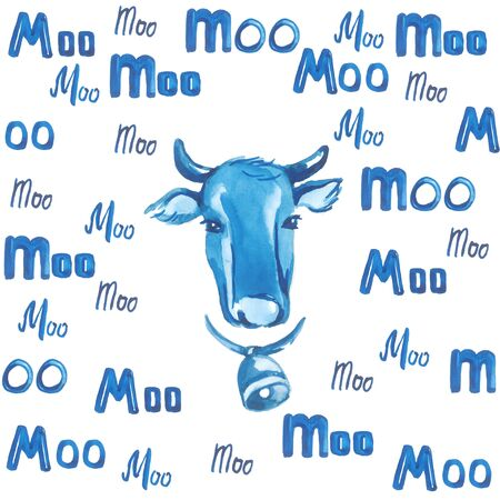 Cows head surrounded by blue letters on a white background Stock Photo