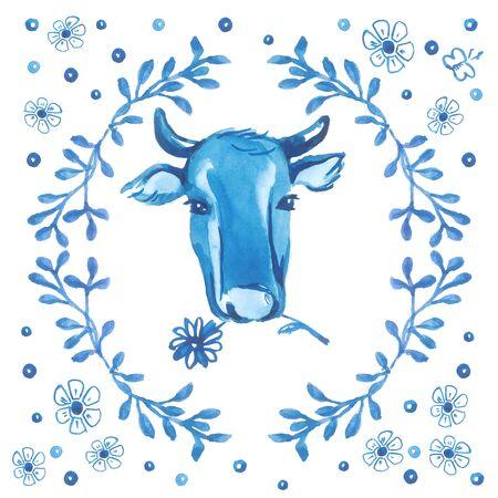 De koeien leiden omringd door bloemenornament op witte achtergrond
