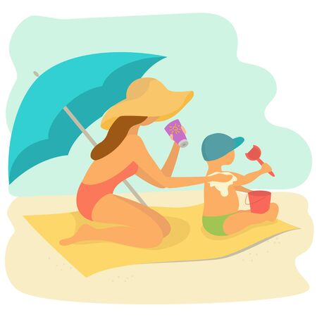 Mom rubs sunscreen the back of the child on the beach