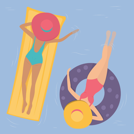 polkadot: Women in hats and bikinis swimming in the pool on a rubber ring and a mattress. The view from the top Illustration