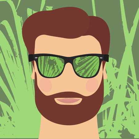 Fashionable man with beard, wearing mirrored sunglasses in the summer. Vector illustration. Closeup Ilustração