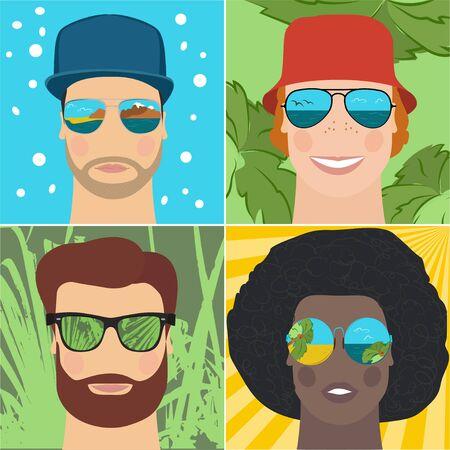 man profile: Fashionable men in mirrored sunglasses in the summer. Vector illustration. Closeup