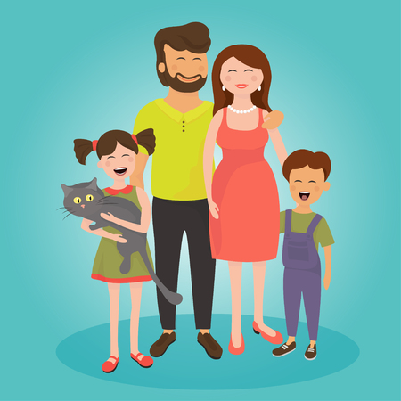 Happy family. Father, mother, son and daughter with a cat smile and look at the camera. Vector illustration.