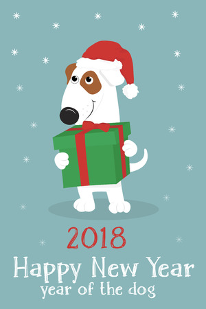Christmas card with a cute cartoon dog in a red Santa hat and gifts on a blue background with snow. Vector illustration. Illustration