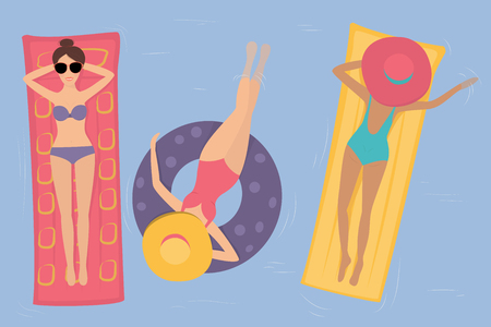 Women in hats and bikinis swimming in the pool on a rubber ring and a mattress. The view from the top Illustration