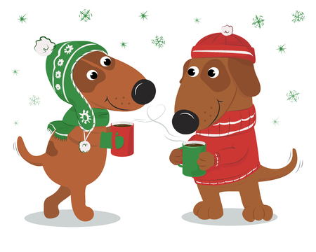 Christmas card with cute cartoon dogs wearing hats and sweater and coffee. A couple in love. On a white background. Vector illustration.