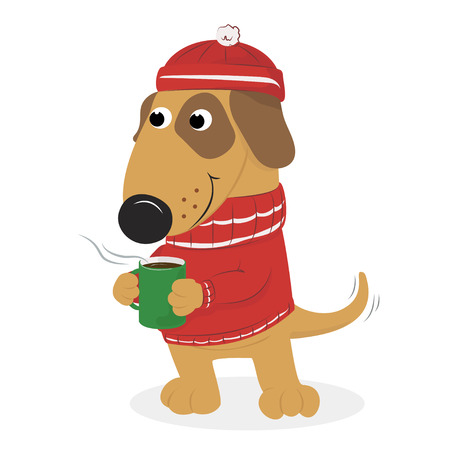 Christmas card with cute cartoon dog warm hat and sweater and coffee. On a white background. Vector illustration.