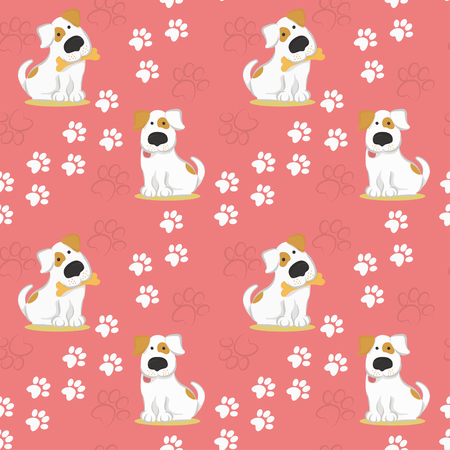 Pattern with white dogs and traces of dog paws. vector illustration in funny style.