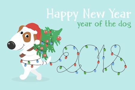 Nuevo 2018, el mapa horizontal. El año chino del perro amarillo. Felicitaciones en un perro blanco divertido con el árbol de navidad y las luces de la Navidad. Ilustración vectorial de colores en estilo de dibujos animados.