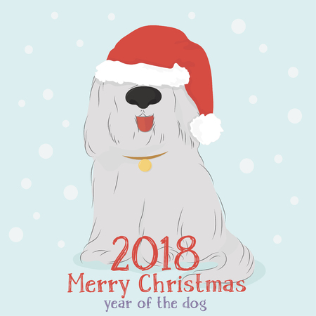 Christmas card with a big shaggy dog breed Bobtail with Santa hat on light blue background with snow Illustration
