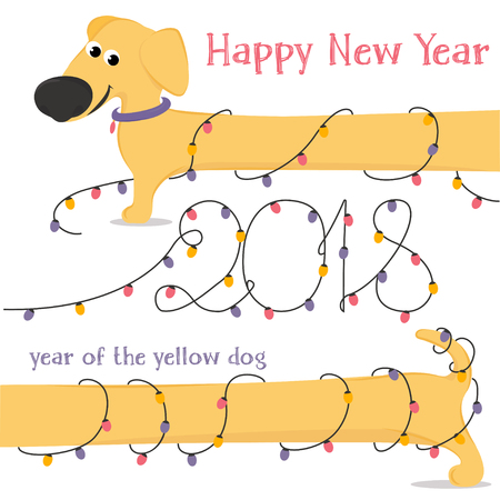 New 2018. The Chinese year of the yellow dog. Congratulations on the funny yellow dog breed Dachshund and Christmas lights. Colorful vector illustration in cartoon style.