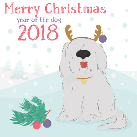 Christmas card with large, shaggy dog breed Bobtail with decorative reindeer and Christmas balls on a blue background with snow. Illustration