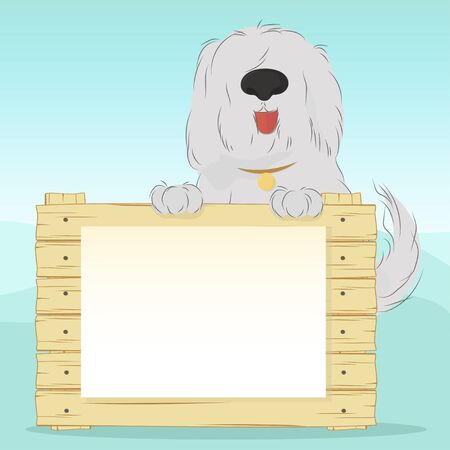 Large, shaggy dog breed Bobtail on a blue background holding a wooden surface. Blank document for your text. Vector illustration
