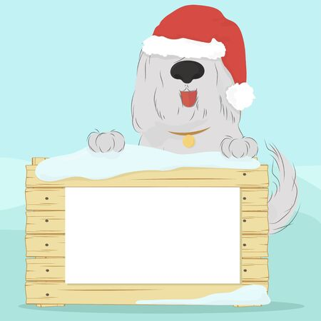 Christmas card with large, shaggy dog breed Bobtail in Santa hat on a blue background holding a wooden surface. A blank paper for your text. Vector illustration