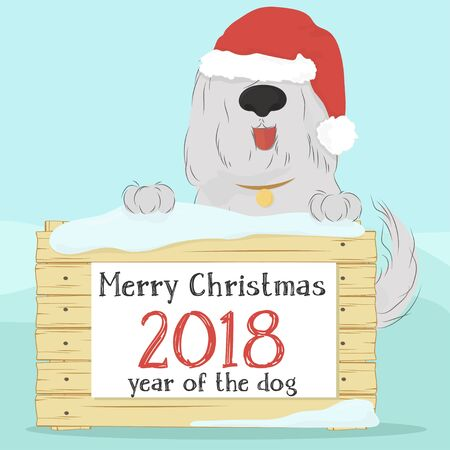 Christmas card with large, shaggy dog breed Bobtail in Santa hat on blue background, holding a wooden surface. The form of congratulations. Vector illustration