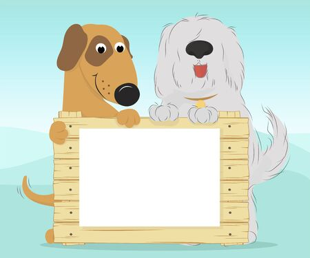 Two dogs on a blue background holding a wooden surface. Blank document for your text. Vector illustration