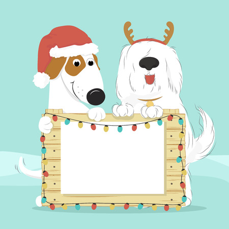 Two dogs in Santa hat and reindeer horns on a blue background holding a wooden surface with Christmas lights. Blank document for your text. Vector illustration.