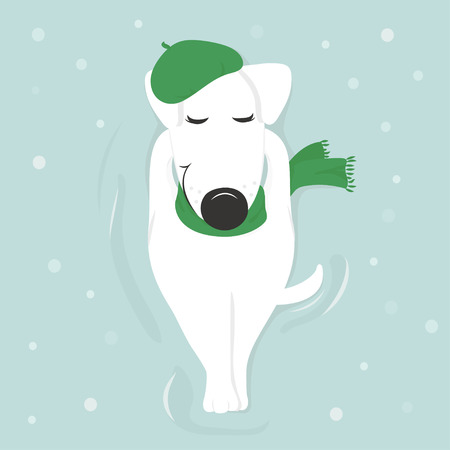shoeprint: Dog breed Jack Russell Terrier lying in the snow with his eyes closed in cap and scarf makes a snow angel. The view from the top. Illustration