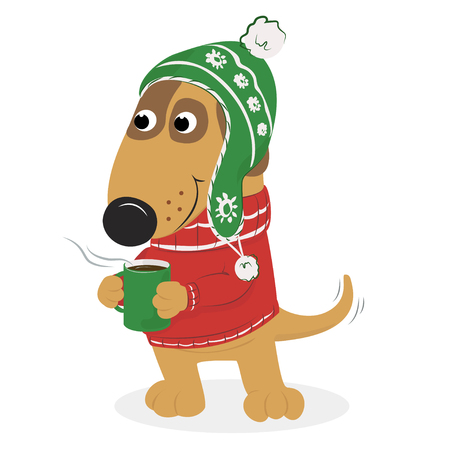 Christmas card with cute cartoon dog. Illustration