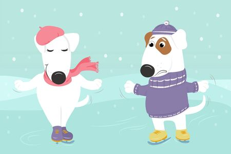 Christmas card with cute cartoon dogs in hats and sweater skate under the snow. A couple in love. Vector illustration.