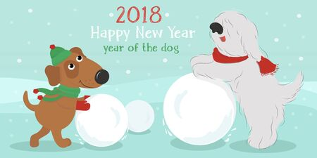 Christmas card with cute cartoon dogs in hats and scarves with snow ball. Vector illustration.