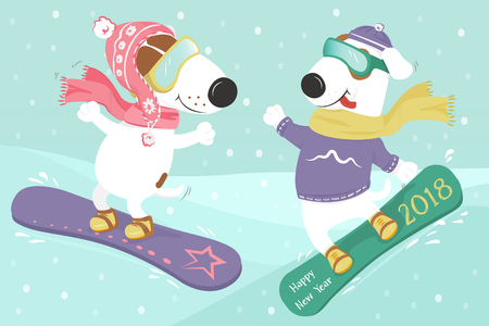 Christmas card with cute cartoon dogs on a snowboard in the snow. A couple in love. Vector illustration. Ilustração
