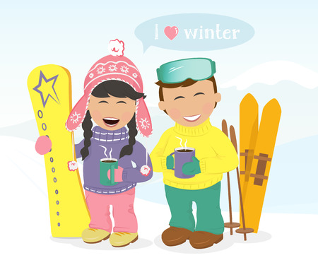 Cheerful boy and girl with skis and snowboard resting and drinking coffee on the hillside.