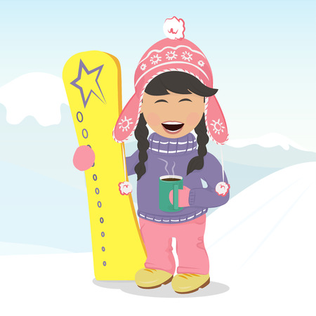 Cheerful girl with a snowboard resting and drinking coffee on the hillside. Illustration