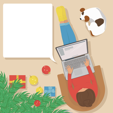 girl laptop: Woman working on laptop at home, sitting in a comfortable chair with a dog near a Christmas tree. On the floor are Christmas balls and gifts. Vector illustration. The view from the top. Mocap. Illustration