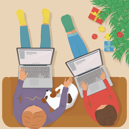 Woman and man working on laptop at home, sitting on a comfortable sofa with the dog. Standing next to the Christmas tree, Christmas balls and gifts. Vector illustration. The view from the top.