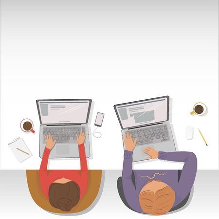 girl laptop: Man and woman working on the laptop sitting at the table. Vector illustration. The view from the top. Mockup Illustration