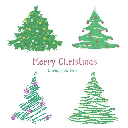 Set of different Christmas trees. Different styles. Vector illustration on a white background.